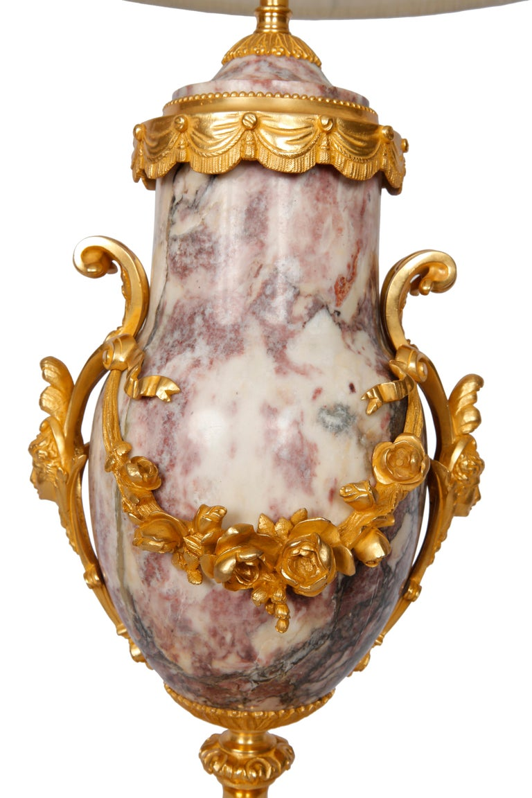 French Pair of Late 19th Century Marble Blue John Style Marble Table Lamps For Sale