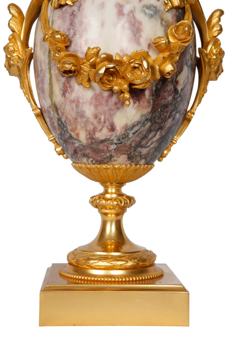 Brass Pair of Late 19th Century Marble Blue John Style Marble Table Lamps For Sale