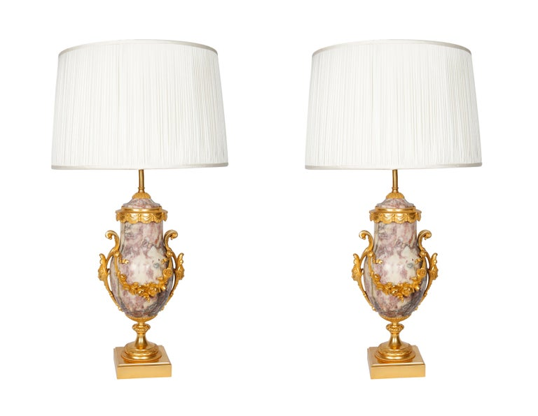Pair of Late 19th Century Marble Blue John Style Marble Table Lamps For Sale 2