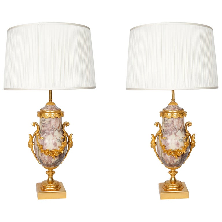 Pair of Late 19th Century Marble Blue John Style Marble Table Lamps For Sale