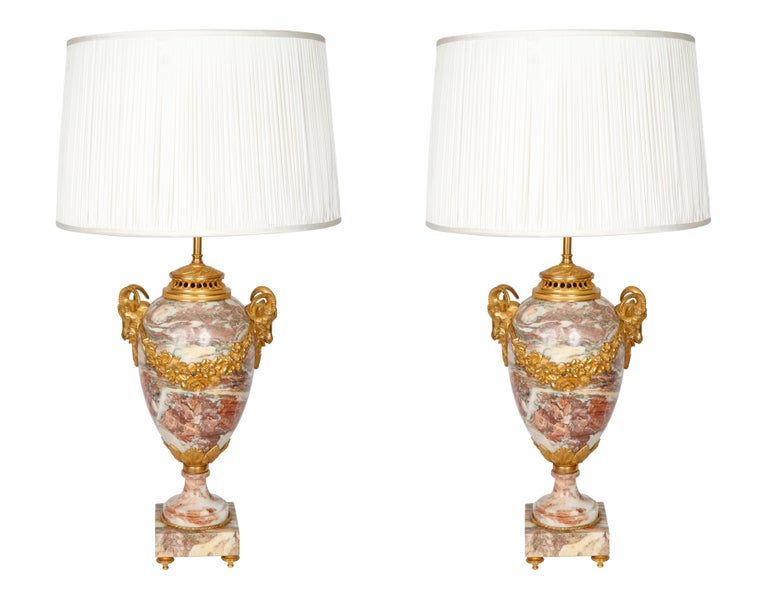 Pair of Late 19th Century Marble Table Lamps For Sale 2