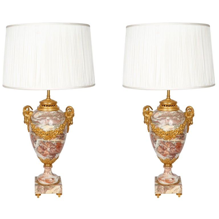 Pair of Late 19th Century Marble Table Lamps For Sale