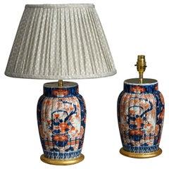 Pair of Late 19th Century Meiji Period Imari Porcelain Vase Lamps