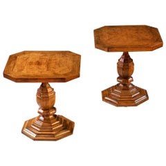 Pair of Late 19th Century Octagonal Oak Occasional Tables