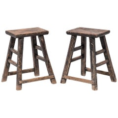 Pair of Late 19th Century Provincial Chinese Tapered Stools