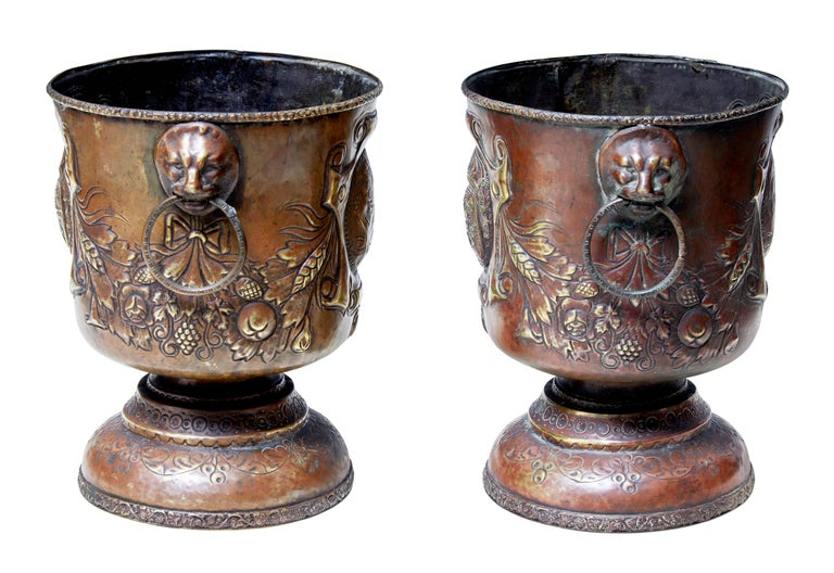 Rococo Revival Pair of Late 19th Century Repousse Copper Wine Coolers For Sale