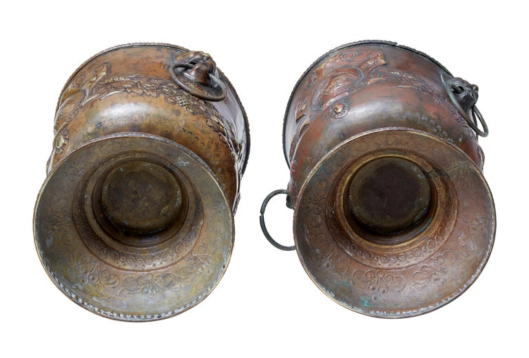 Repoussé Pair of Late 19th Century Repousse Copper Wine Coolers For Sale