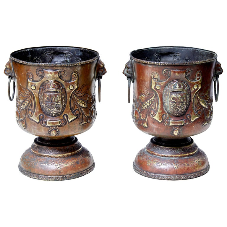 Pair of Late 19th Century Repousse Copper Wine Coolers For Sale