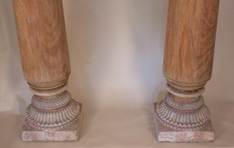 Indian Pair of Late 19th Century Satin Wood Columns For Sale
