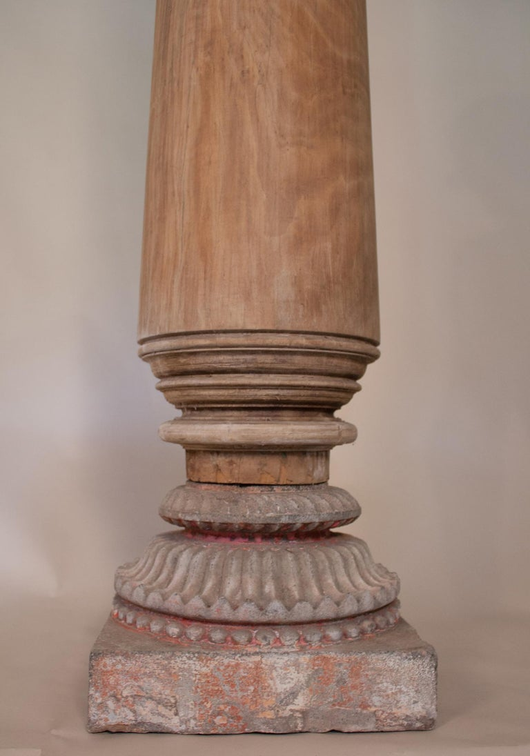 Carved Pair of Late 19th Century Satin Wood Columns For Sale