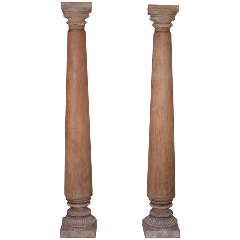 Pair of Late 19th Century Satin Wood Columns For Sale