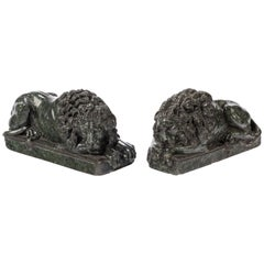 Pair of Late 19th Century Serpentine Desk Lions