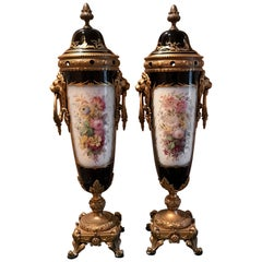 Pair of Late 19th Century Sèvres Porcelain Lidded Garniture Vases