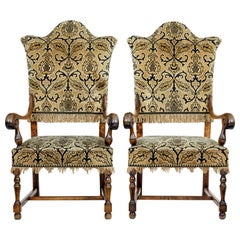 Pair of Late 19th Century Shaped Birch Armchairs