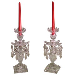 Pair of Late 19th Century square base Cut-Glass Lustre Candlesticks