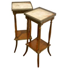 Pair of Late 19th Century Square Cut Plant or Lamp Tables