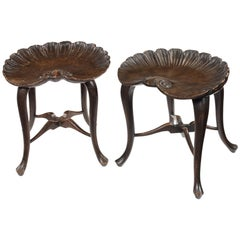 Pair of Late 19th Century Stained Beech Shell Stools