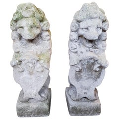 Pair of Late 19th Century Stone Garden Lions