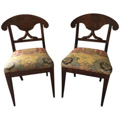 Pair of Late 19th Century Swedish Biedermeier Side Chairs with Silk Fabric