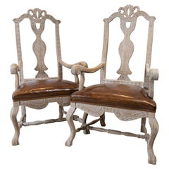 Pair of Late 19th Century Swedish Bleached Oak Carvers or Side Chairs