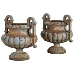 Pair of Late 19th Century Urns with Decorative Pale Blue Patina