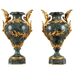 Pair of Late 19th Century Vases in Marble and Gilt Bronze