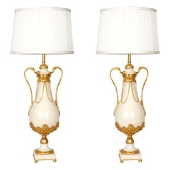 Pair of Late 19th Century White Marble Vase Table Lamps