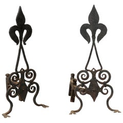Pair of Late 19th-Early 20th Century American Black Fleur-de-Lis Andirons