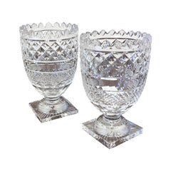 Pair of Late 19th-Early 20th Century Cut Glass Vases