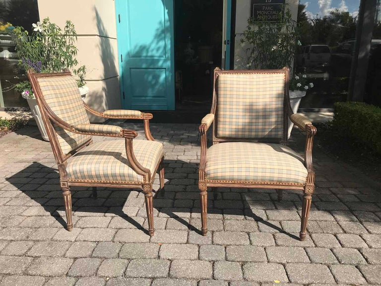 Pair of Late 19th-Early 20th Century Louis XVI Armchairs For Sale 2