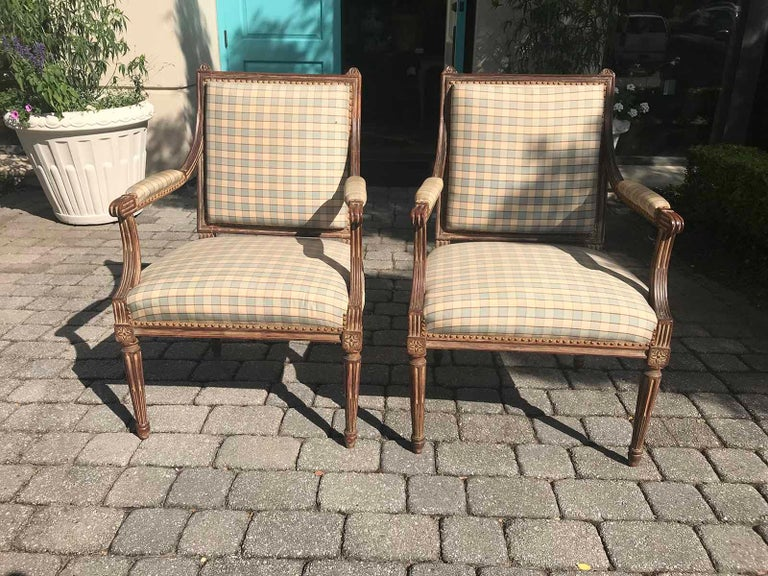 Pair of Late 19th-Early 20th Century Louis XVI Armchairs For Sale 3