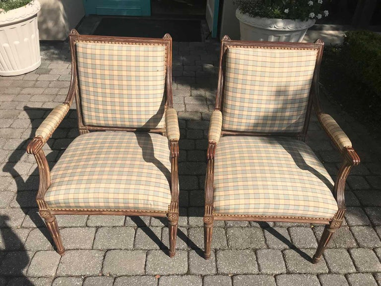 Pair of Late 19th-Early 20th Century Louis XVI Armchairs For Sale 4