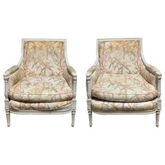 Pair of Late 19th-Early 20th Century Louis XVI Style Custom Painted Bergeres