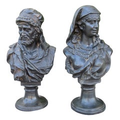 Pair of Late 19th-Early 20th Century Small Metal Figural Busts