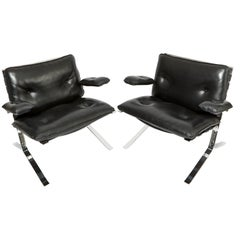 Pair of Late 20th Century black Leather and Chrome Chairs