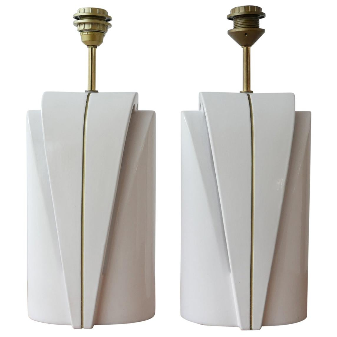 Pair of Late 20th Century Ceramic Double Bulb Table Lamps
