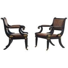Pair of Late 20th Century Ebonized Regency Style