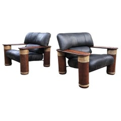 Pair of Late 20th Century Pacific Green Messina Black Leather Lounge Chairs