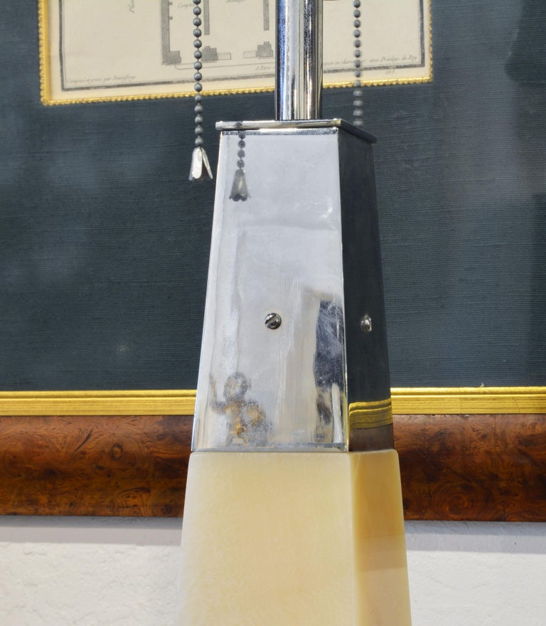 Pair of Late 20th Century Postmodern Carved Marble and Chrome Table Lamps In Good Condition In Ft. Lauderdale, FL