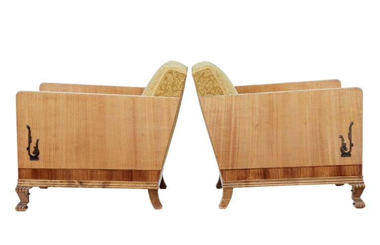 Swedish Pair of Late Art Deco Elm and Birch Club Armchairs For Sale