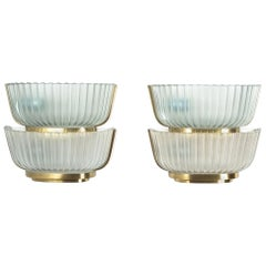 Pair of Late Art Deco Glass and Brass Sconces Refurbished, Italy, circa 1940