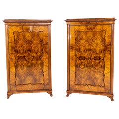 Pair of Late Biedermeier Walnut Cabinets, Germany, circa 1850