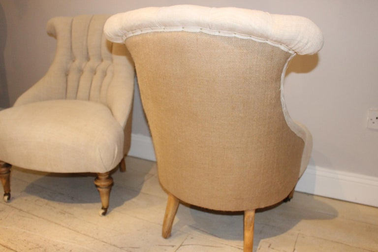Pair of Late circa 19th Century Upholstered Swedish Button Back Salon Chairs In Good Condition In London, GB