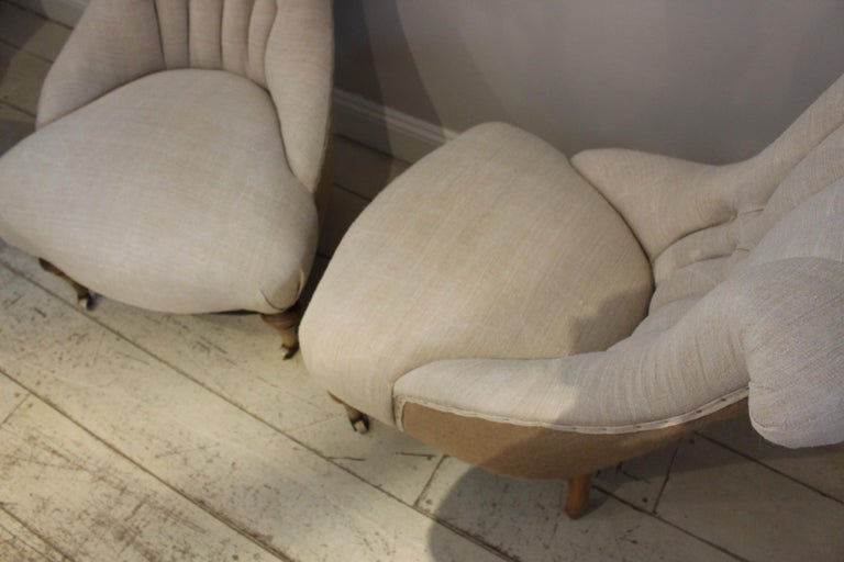 Late 19th Century Pair of Late circa 19th Century Upholstered Swedish Button Back Salon Chairs