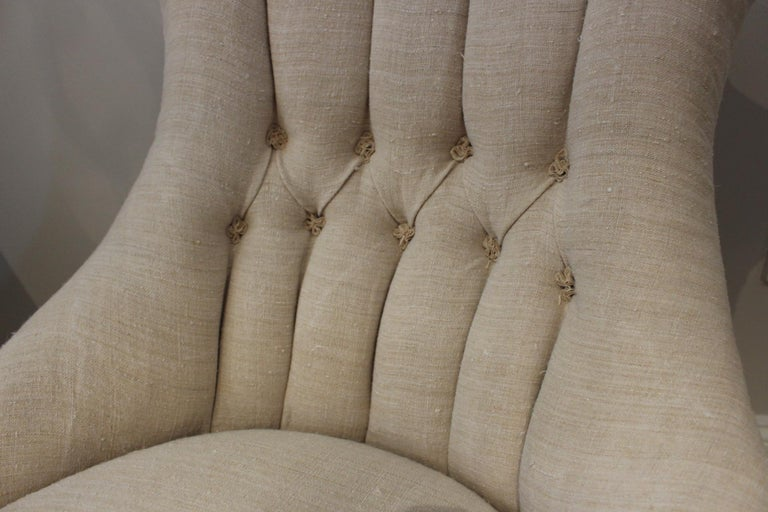 Linen Pair of Late circa 19th Century Upholstered Swedish Button Back Salon Chairs