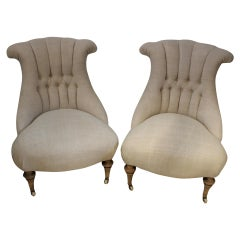 Pair of Late circa 19th Century Upholstered Swedish Button Back Salon Chairs