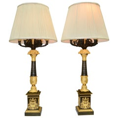 Pair of Late French Empire Candelabra/Lamps