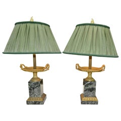Pair of Late French Empire Marble and Bronze Tazzas Converted into Lamps