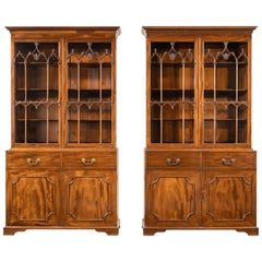 Pair of Late George III Period Mahogany Bookcases