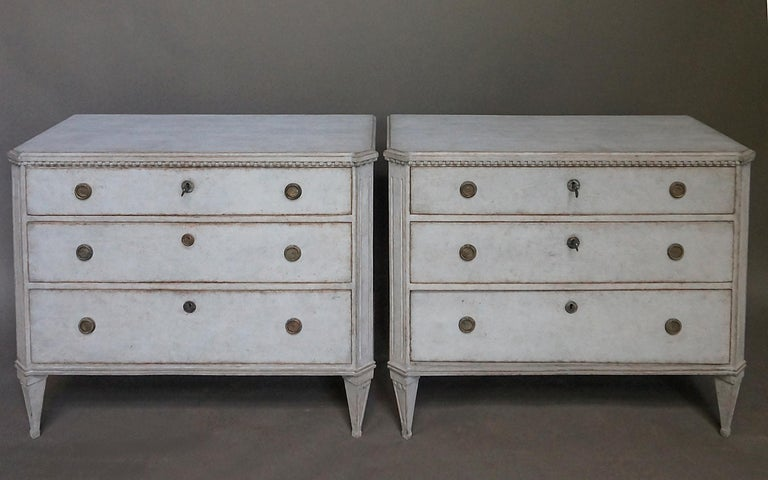 Swedish Pair of Late Gustavian Style Chests of Drawers For Sale
